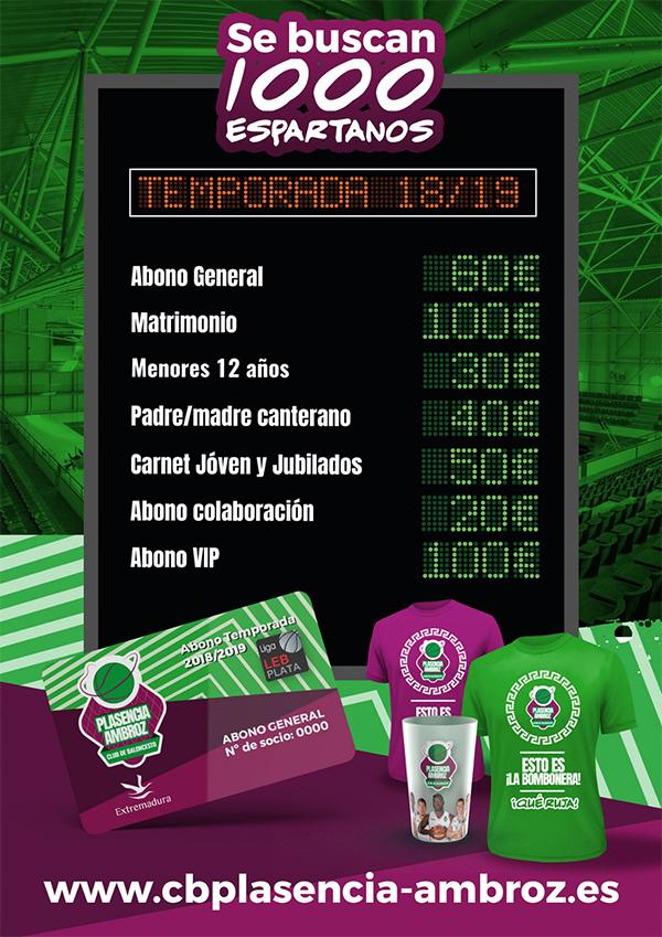Precio de abonos para el Club de Baloncesto Plasencia-Ambroz